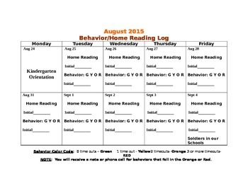 Behavior and Home Reading Calendars 2015-2016