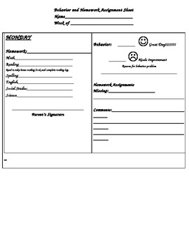 Behavior and Homework Assignment Sheet
