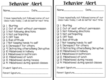 Behavior and No Homework Alert Forms