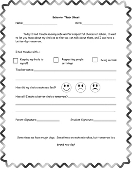 Behavior  and Parent Contact Think Sheet