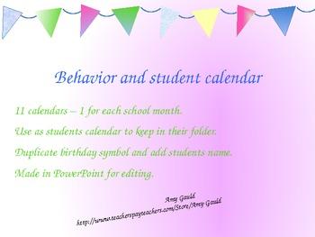Behavior and Student Calendar