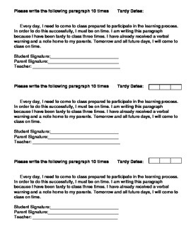 Behavior and Tardy Paragraphs