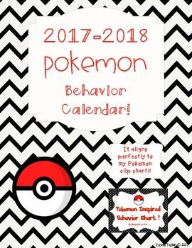Behavior calendar 2017-2018 - Pokemon Go Inspired!!