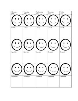 Behavior chart with smiley faces