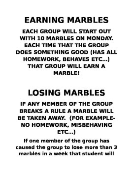 Behavior incentive- Marbles