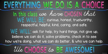 Behavior is a Choice Poster for Character Trait Development