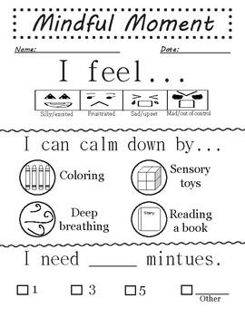 Behavior management: Mindful Moment sheet