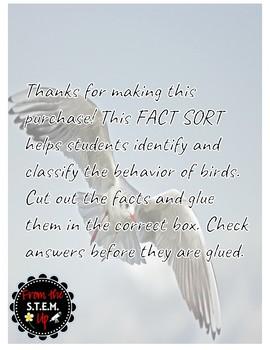 Behavior of Birds Fact Sort
