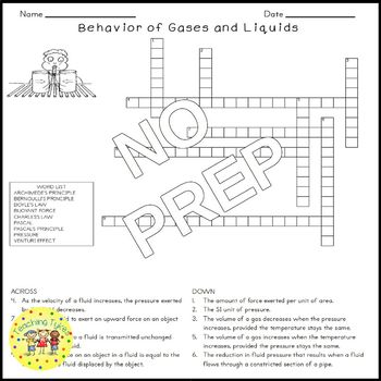 Behavior of Liquids and Gases Science Crossword Puzzle Coloring Middle School