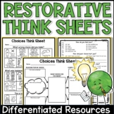 Restorative Practices Behavior Reflection Sheets