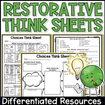 "Behavior or Choices ""Think Sheet"" for Upper Grades - Resto"