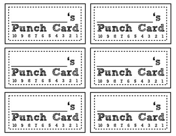 Behavior or Goal Punch Cards