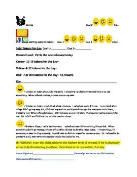 Behavior plan_visual schedule_w/self monitoring token economy