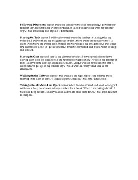 Behavior sheet and assignment sheet