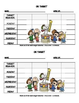 Behavior target chart with Peanuts Theme