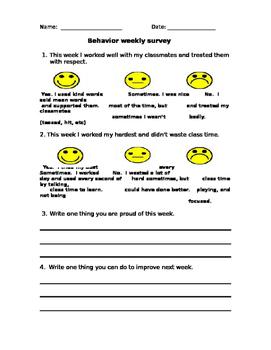 Behavior weekly survey