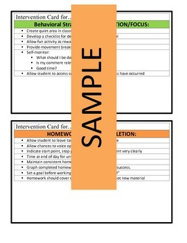 Behavior/Academic Intervention Cards