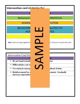 Behavior/Academic Intervention Cards