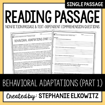 Behavioral Adaptations (Part 1) Reading Passage