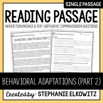 Behavioral Adaptations (Part 2) Reading Passage