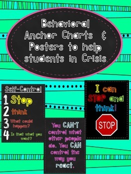 Behavioral Anchor Charts & Posters for Students in Crisis