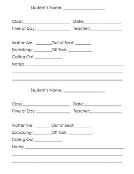 Behavioral Data Recording Sheet