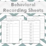 Behavioral Data Recording Sheets