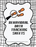 Behavioral Data Tracking Sheets Packet
