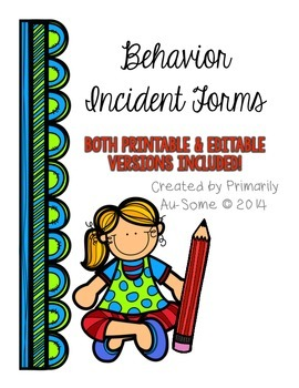 Behavioral Incident Report Form (Printable & Editable)