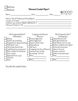 graphic about Printable Incident Report named Behavioral Accident Article Kind (Printable Editable)