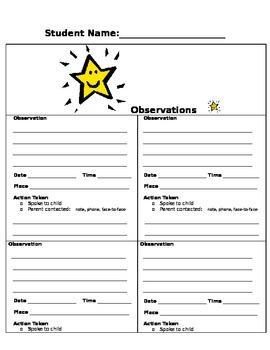 Behavioral Observation template 4 boxes