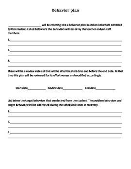 Behavioral Plan/Contract