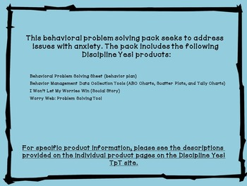 Behavioral Problem Solving Pack: Anxiety