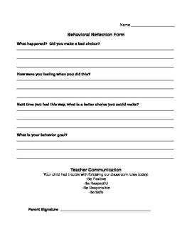 Behavioral Reflection Form, Behavior Sheet, Think Sheet, Making Good Choices