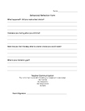 Behavioral Reflection Form, Behavior Sheet, Think Sheet, M