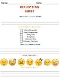 Behavioral Reflection Sheet