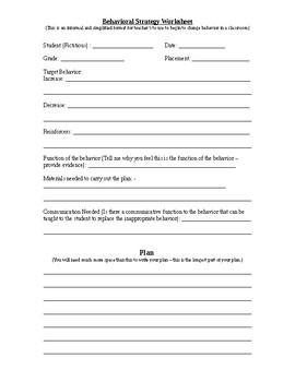 Behavioral Strategy Worksheet