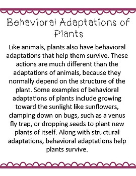 Behavioral and Structural Adaptations of Plants: NGSS 4-LS1