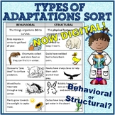 Behavioral and Structural (Physical) Adaptations Cut and Paste examples