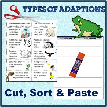 Behavioral and Structural (Physical) Adaptations Cut and Paste & application