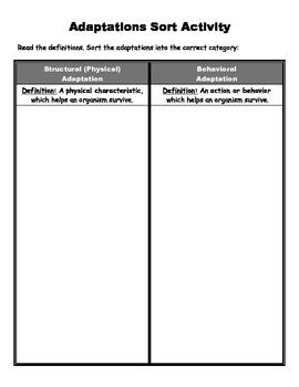 Behavioral vs. Structural Adaptations Sort Activity