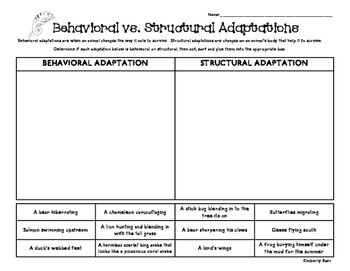 Behavioral vs. Structural Adaptations Sorting Worksheet