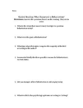 Behaviorism Guided Reading