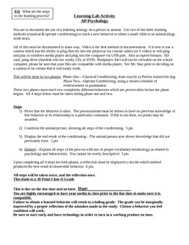 Behaviorism/Learning Method Project