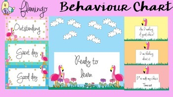Behaviour / Behavior Chart -Themed Flamingo