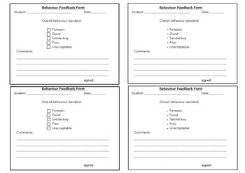 Behaviour Feedback Form