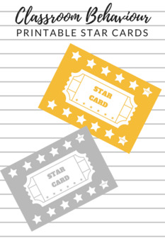 Behaviour Management Star Cards