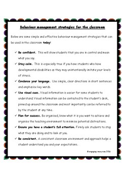 Behaviour Management Strategies for the Classroom