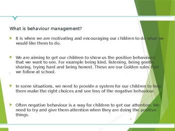 Behaviour Management Support PowerPoint for Parent Workshop