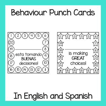 Behaviour Punch Cards (In English and Spanish)